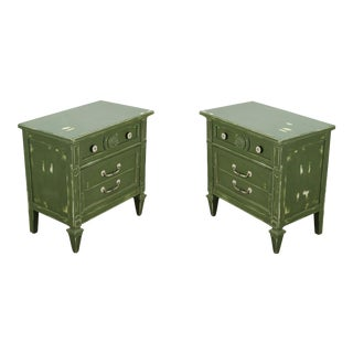 Pair of Mid-Century 3-Drawers Green Nightstands For Sale