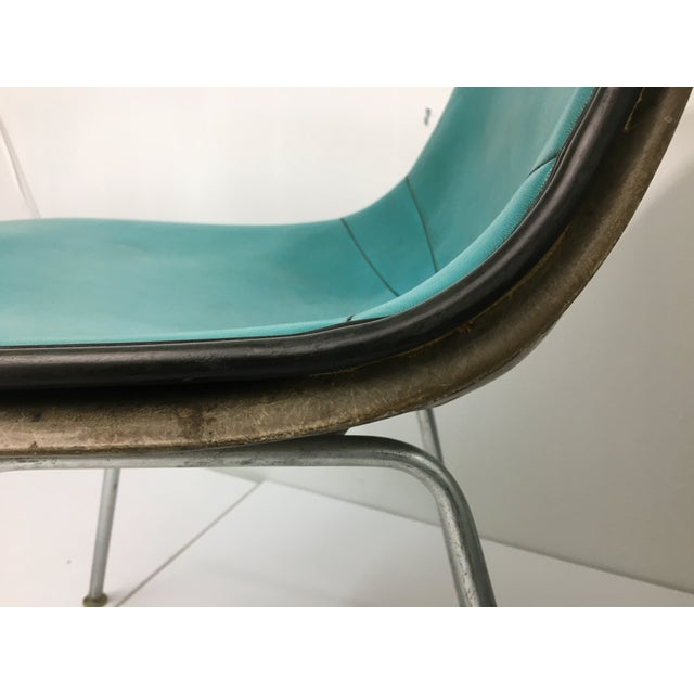 Vintage Molded Side Chair in Turquoise Naugahyde by Charles Eames for Herman Miller For Sale - Image 10 of 13