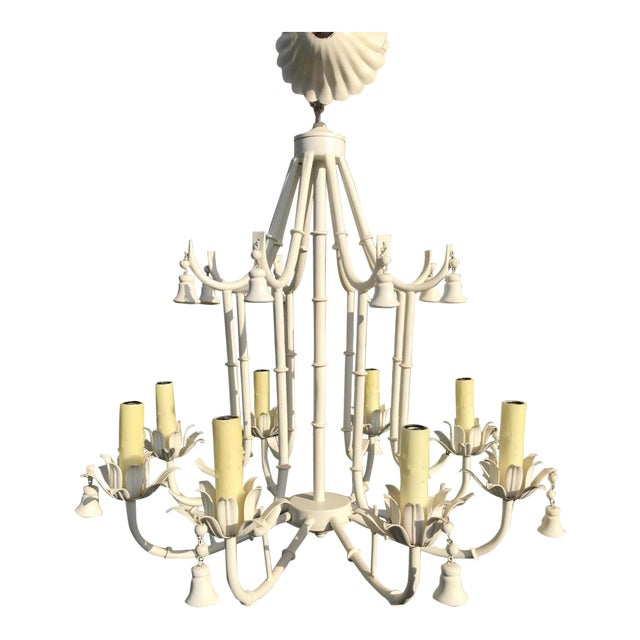 1970s White Faux Bamboo Pagoda Chandelier For Sale