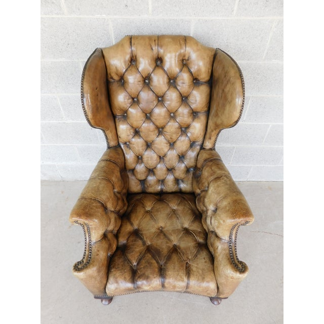 Georgian Antique English Tufted Leather Georgian Style Wingback Chair For Sale - Image 3 of 12