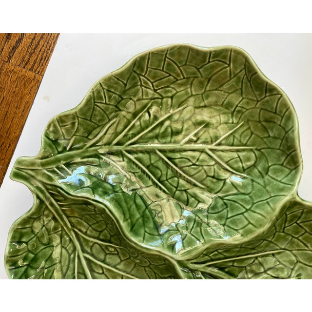 1980s Green Cabbage Leaf 3 Part Serving Platter Made in Portugal For Sale - Image 5 of 11