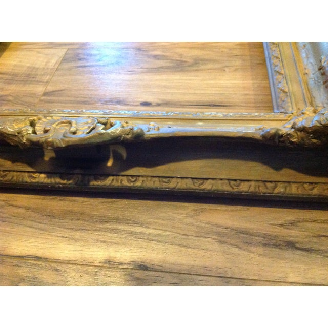 Antique Wood Hollywood Regency Large Frame Victorian White Shabby Chic - Image 4 of 11