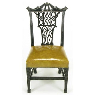 Eight Chinese Chippendale Ebonized Mahogany Dining Chairs With Leather Seats Preview