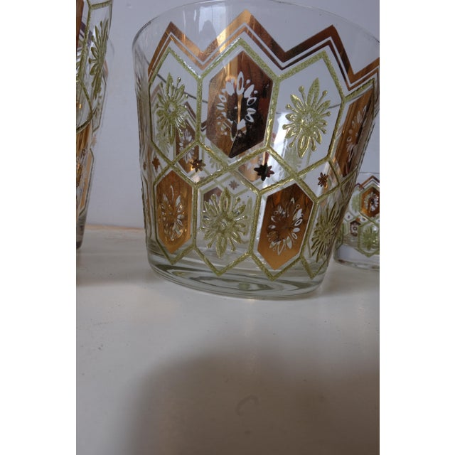 Vintage Gold Green Ice Bucket With Glasses - Set of 13 For Sale - Image 9 of 12