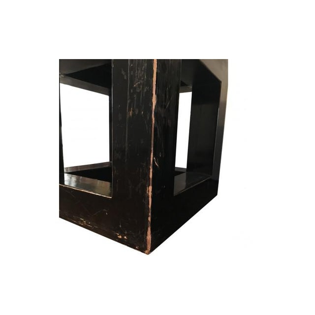 Mid 20th Century 20th Century Asian Wood and Stone Cube Side Tables - a Pair For Sale - Image 5 of 6