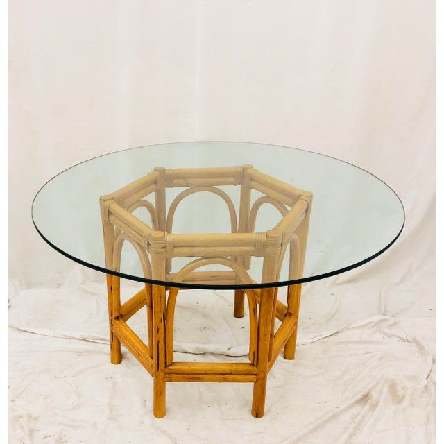 Wood Vintage Bent Rattan & Glass Table For Sale - Image 7 of 12