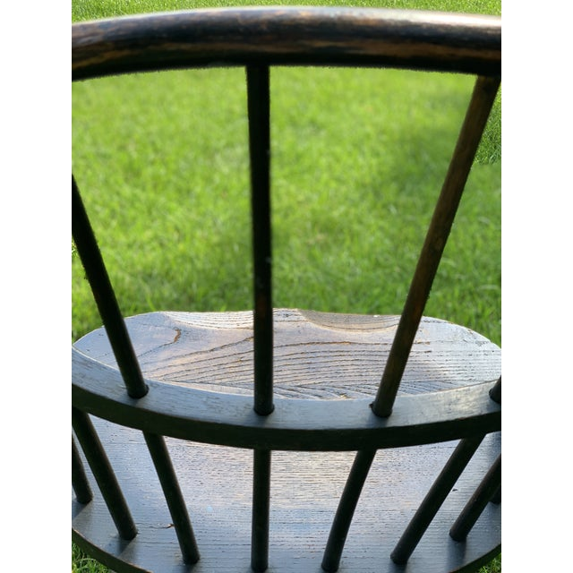 Wood Wooden Windsor Firehouse Chair For Sale - Image 7 of 13