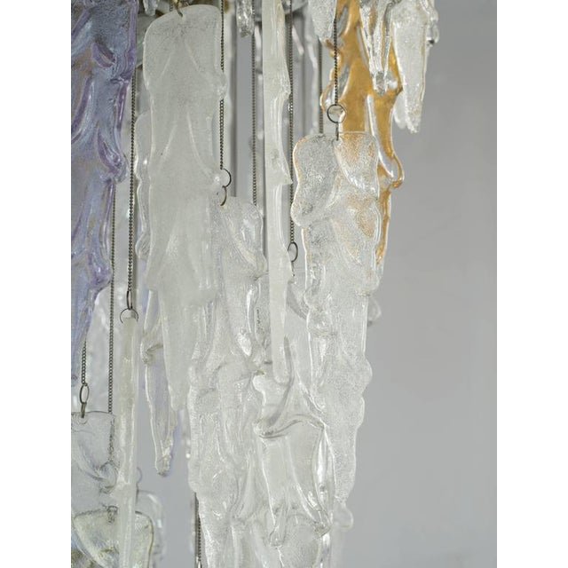 Mazzega Murano Outstanding Mid Century Modern Murano Icicle Chandelier by Mazzega For Sale - Image 4 of 11