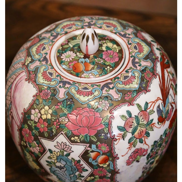 Pink Mid-Century Chinese Famille Rose Porcelain Melon Jars - a Pair For Sale - Image 8 of 11
