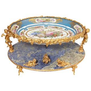 Sèvres Style Lapis Lazuli Centerpiece, 19th Century, French For Sale