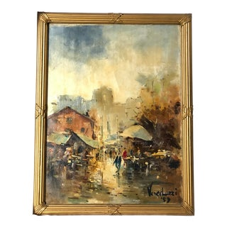 1959 Vintage Impressionistic City Scene Oil Painting For Sale