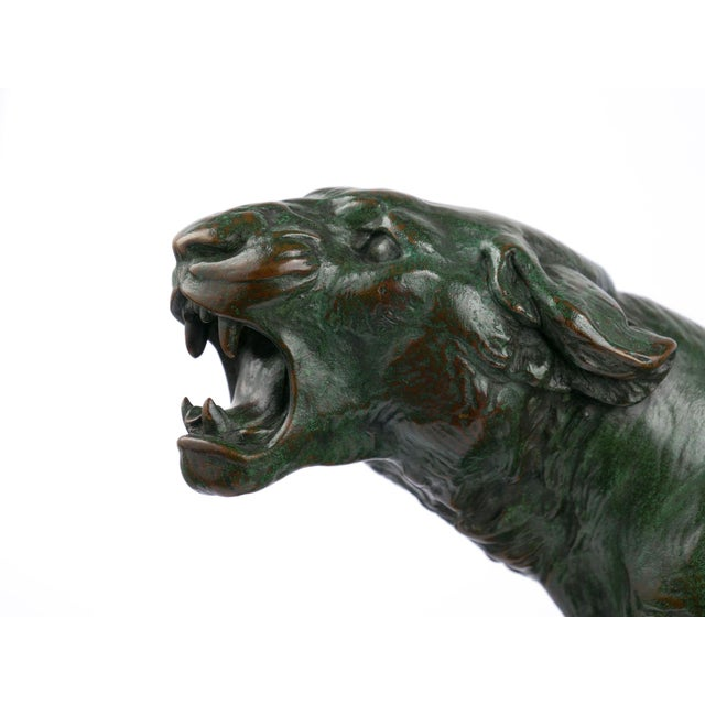 """""""Wounded Lioness"""" French Antique Bronze Sculpture by Charles Valton For Sale - Image 6 of 13"""