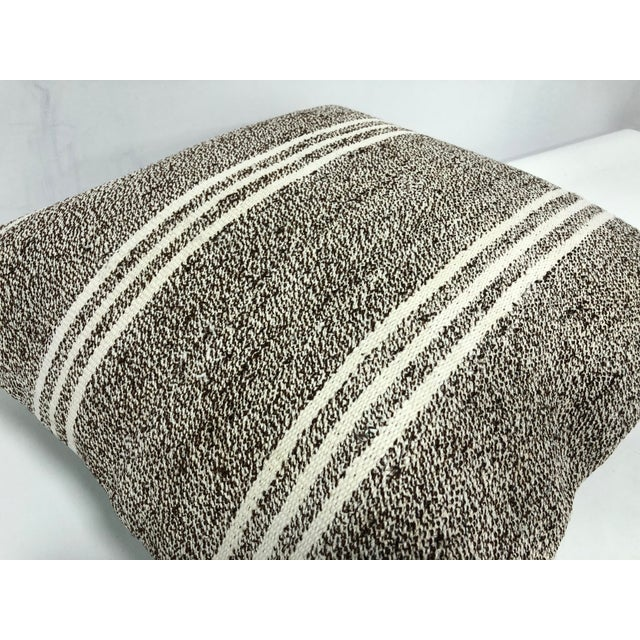 1970s Primitive Traditional Turkish Antique Hand Woven Pillow Cover For Sale - Image 5 of 6