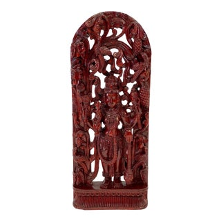 Vintage Hand Carved Mahogany Vishnu Under Canopy Sculpture For Sale