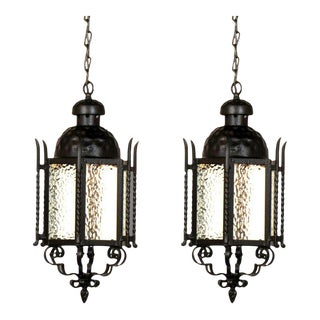 Pair of Iron Exterior Lanterns For Sale