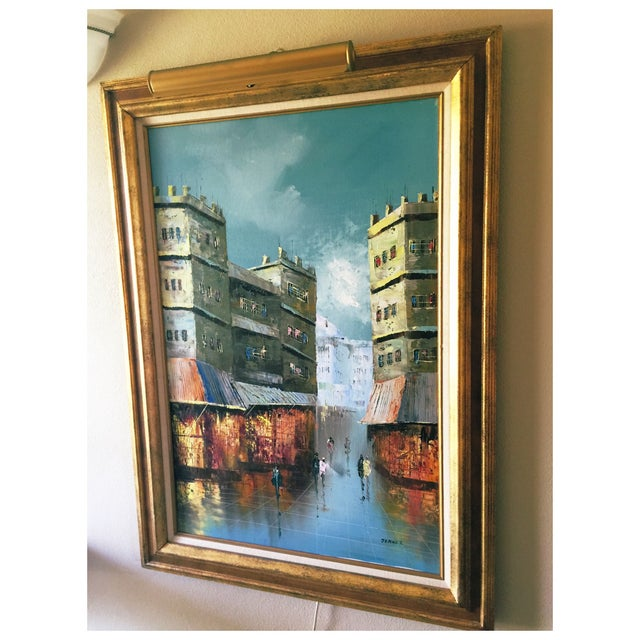 Vintage Cityscape Oil on Canvas by Jenner For Sale - Image 4 of 7