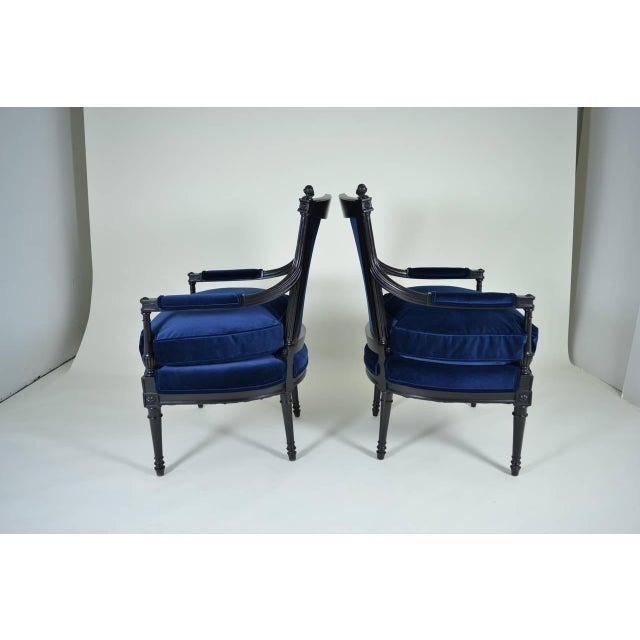 Blue Pair of Directoire Style Fauteuil Chairs For Sale - Image 8 of 10