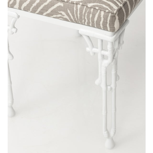 Chinoiserie White Metal Bamboo Style Console and Bench For Sale In New York - Image 6 of 12