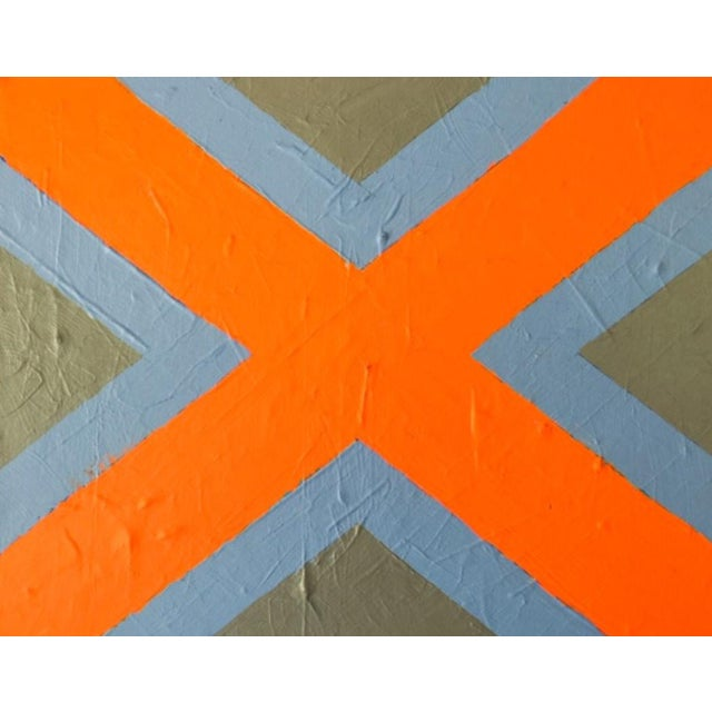 "2020 Donald Florence Abstract ""Orange X"" Acrylic Painting For Sale"