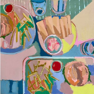 """Neon Fries I"" Contemporary Still Life Acrylic Painting by Kate Comen For Sale"