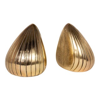 Mid Century Ben Seibel Jenfred-Ware Brass Acorn Bookends For Sale