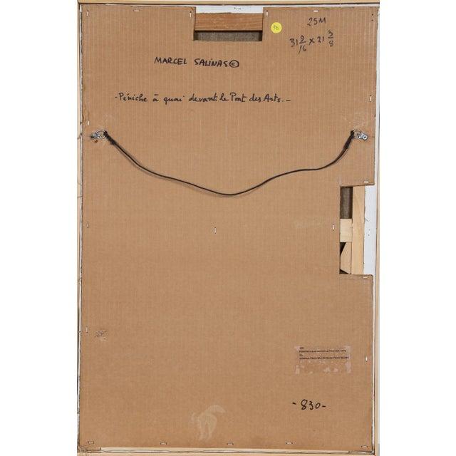 Artist: Laurent Marcel Salinas, Egyptian/French (1913 - 2010) Title: Peniche a Aquai Devant le Pont des Arts Medium: Oil...