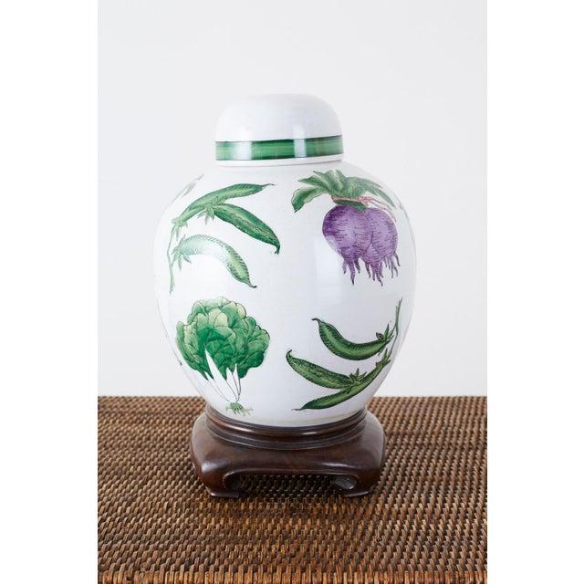 Chinese Export Porcelain Lidded Ginger Jar on Stand For Sale - Image 4 of 13