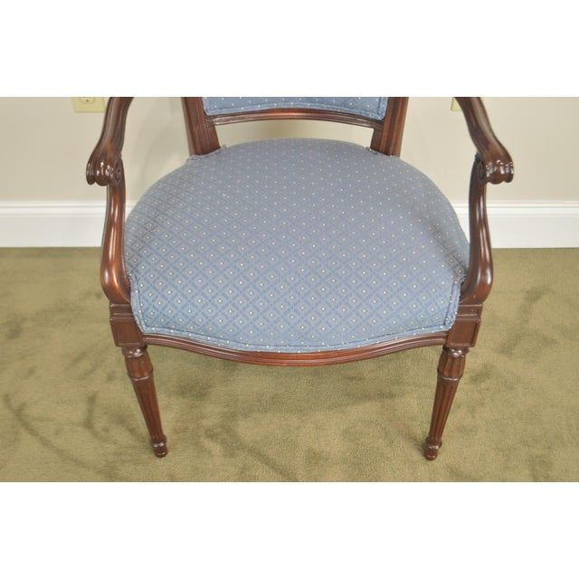 1950s Regency Style Vintage Pair of Carved Mahogany Blue Upholstered Arm Chairs For Sale - Image 5 of 13