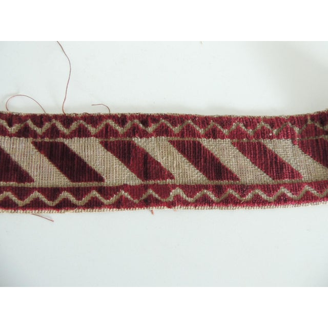 Late 19th Century Italian Red and Gold Woven Antique Trim For Sale - Image 5 of 6