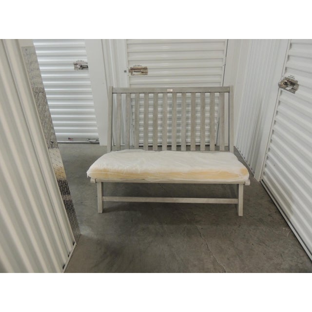 2010s Outdoor Safavieh Weathered Finish Settee For Sale - Image 5 of 10