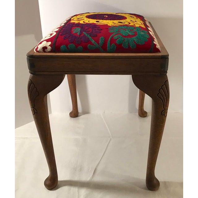 Wood 20th Century Persian Uzbek Suzani Stool Bench For Sale - Image 7 of 9
