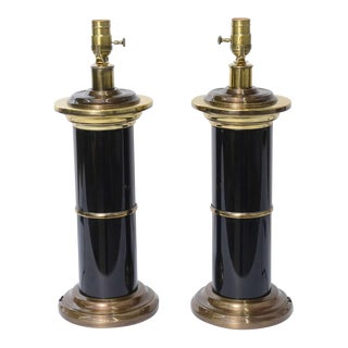 Pair of Modern Empire Style Brass and Black Lacquer Columnar Table Lamps For Sale