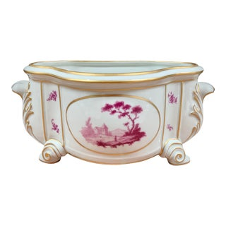 French Porcelain Pink & White Cachepot Planter For Sale
