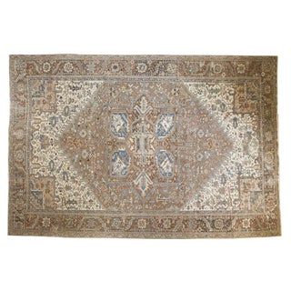 Vintage Distressed Fragmented Heriz Carpet - 10' X 15' For Sale
