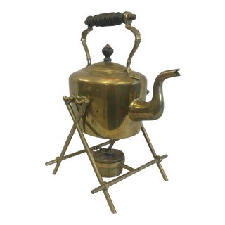 Vintage Brass Tea Pot on Stand For Sale