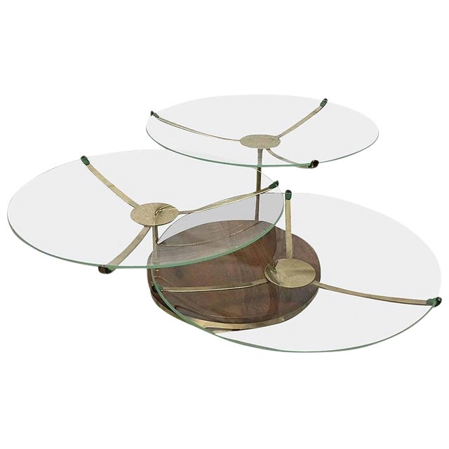 Three-Tier Walnut and Brass Swivel Serving Plates For Sale