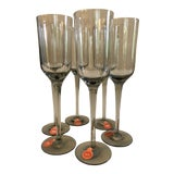 Image of Vintage Danish Gray Smoked Gray Glass Holmegaard Cordial Stem Glasses--Set of 6 For Sale