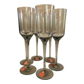 Vintage Danish Gray Smoked Gray Glass Holmegaard Cordial Stem Glasses--Set of 6 For Sale