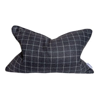 Contemporary Creme and Grey Flannel Pillow - 16 X 24 For Sale