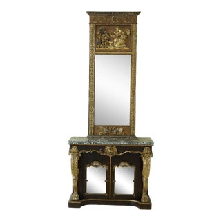 Antique C.1830s New England Regency Marble Top Console W. Mirror For Sale