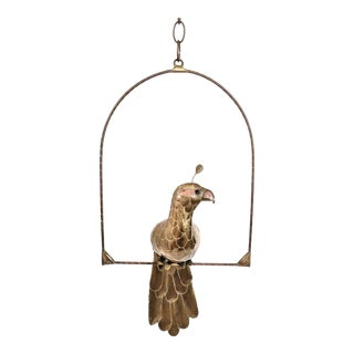 Sergio Bustamante Style Brass and Copper Peacock Bird on Swing For Sale