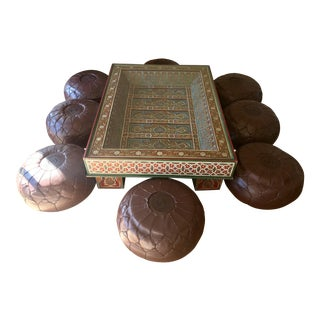 Moroccan Table With 8 Pouffs - Dining Set For Sale