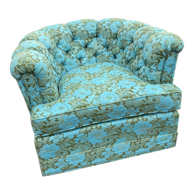 Vintage Floral Chesterfield Arm Chair For Sale