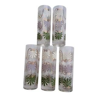 Vintage Flower Power Lotus Lavender Green White Iced Tea / Highball Glasses - Set of 5 For Sale