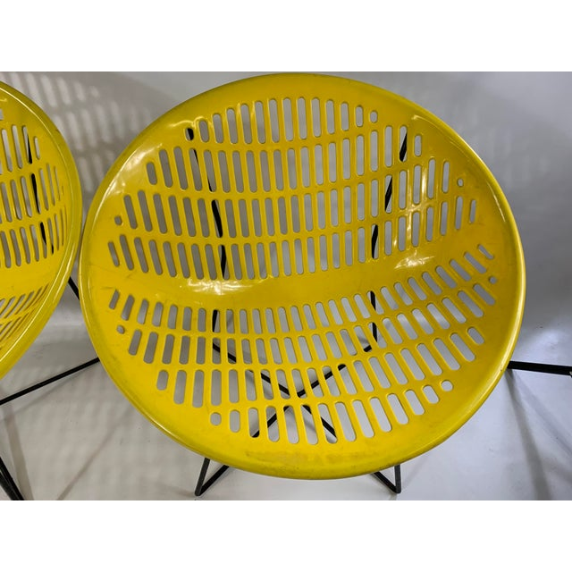 Mid-Century Modern Mid Century Howard Johnson Hotel Yellow Solar Lounge Chairs - a Pair For Sale - Image 3 of 11