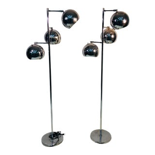 Pair of Koch & Lowy Three Globe Shades Chrome Floor Lamps For Sale