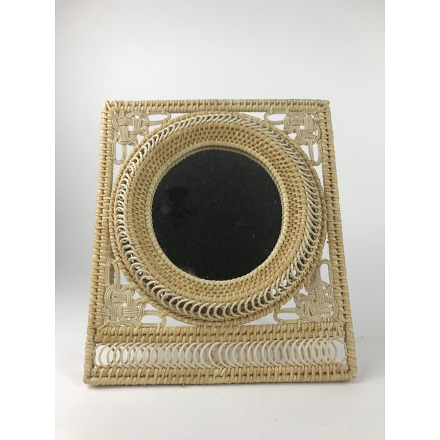Boho Wicker Table Mirror For Sale In Los Angeles - Image 6 of 6