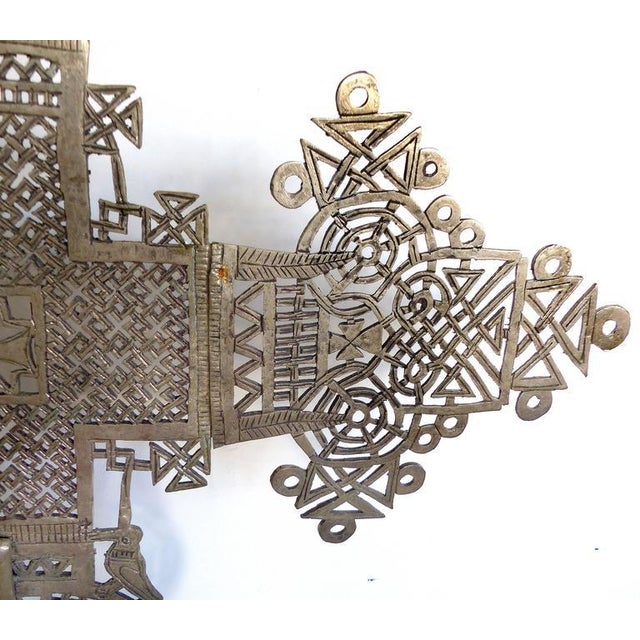 20th Century Ethiopian Coptic Cross on Lucite Base For Sale - Image 4 of 7