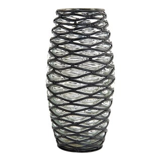 Italian Bubble Caged Glass Vase For Sale