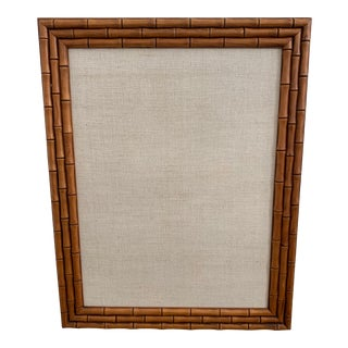 Faux Bamboo and Linen Office Bulletin Board For Sale